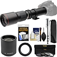 Vivitar 500mm f/8.0 Telephoto Lens with 2x Teleconverter (=1000mm) + Monopod + 3 Filters Kit for SLT-A57, A58, A65, A77, A99 DSLR Cameras