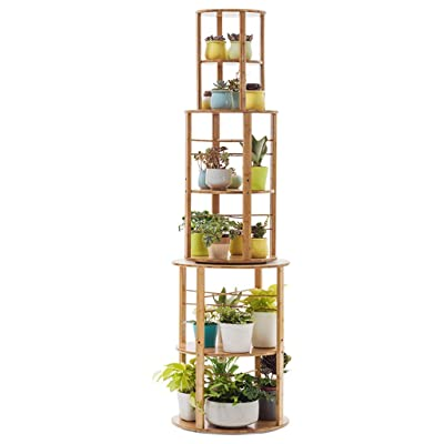 Pergolas Flower Stand Flower Stand Solid Wood Floor Stand Multi-Layer 360 Degree Rotating Living Room Pot Rack Window sill Storage Rack Balcony Flower Rack (Color : Brown, Size : 5050175cm): Garden & Outdoor