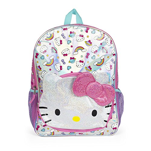 Hello Kitty Rainbow Glitter Pink Bow Pocket Backpack for Girls ()
