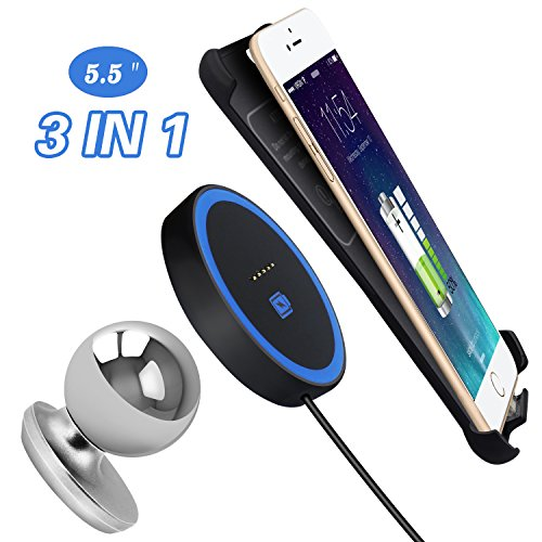 """Price comparison product image Wireless Charger Charging Pad Dock with Car Phone Magnetic Mount and iphone 6 Plus / 6S Plus (5.5""""iPhone) Receiver Case Set(Black)"""