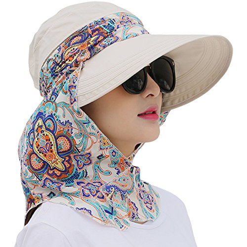 Lanzom Women Lady Wide Brim Cap Visor Hats UV Protection Summer Sun Hats (White)