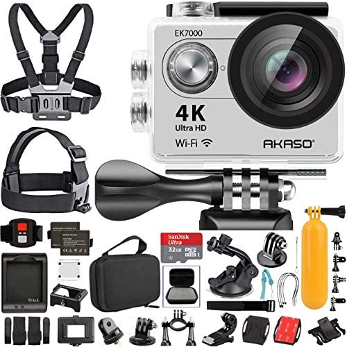 AKASO EK7000 4K Video WiFi Action Camera Ultra HD Waterproof DV Camcorder 12MP 170 Degree Wide Angle LCD Sage Silver with Wireless Remote Custom Case Memory Card Sports Camera Starter Kit