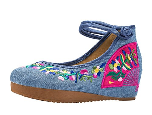 Lazutom Women Lady Vintage Chinese style Embroidery Comfortable Casual Walking Shoes Blue