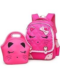 Cute Cat Face Bow Diamond Bling Waterproof Pink School Backpack Girls Book Bag