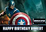 Captain America Marvel Birthday Cake Personalized Cake Toppers Edible Frosting Photo Icing Sugar Paper A4 Sheet 1/4