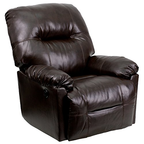 Leggett Leather Recliner (Flash Furniture Contemporary Bentley Brown Leather Chaise Power Recliner with Push Button)