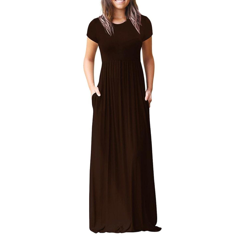 d4f90c3a06850e dauerhafte Modellierung OHQ Damen Sommerkleider Elegant Einfarbig Falten  Kurzarm Lose Strandkleid Bandeau Langarm Beach Maxi Kleider