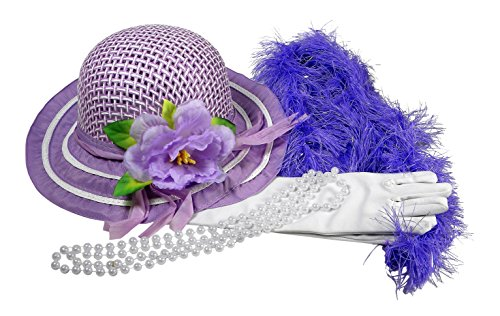 (Butterfly Twinkles Girls Tea Party Hat Dress Up Play Set with Purple Sun Hat, Boa, Plastic Pearl Necklace, and White Gloves,)