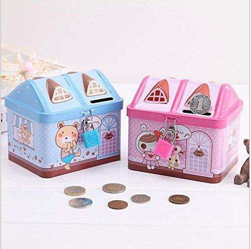 Miss.AJ Piggy Bank House Coin Bank Frist Saving Box Include Lock and Keys Tithing Bank for Kids Saving ()