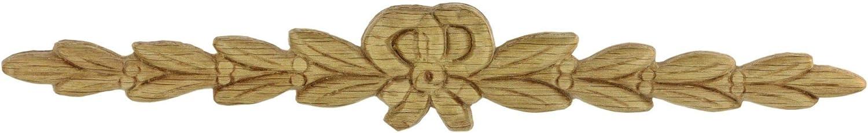 "Decorativ Center Ribbon Bow Oak Applique - 9 1/2"" x 1 1/2"" - Onlay Antique & Modern Furniture Doors, Walls Carved Ornamental Decor |G11-3212O"