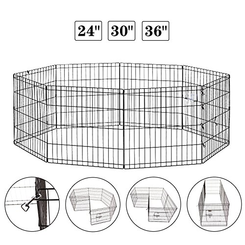 Idealchoiceproduct 30 inch Pet Playpen Pet Pen Folding Wire Dog Exercise Pen Pet Fence Yard Fence 8 Panel Cage 24-42 Inch-Black Color