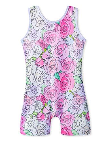 (Floral Leotards for Girls Gymnastics with Shorts size 7-8 7/8 for kids roses biketards )