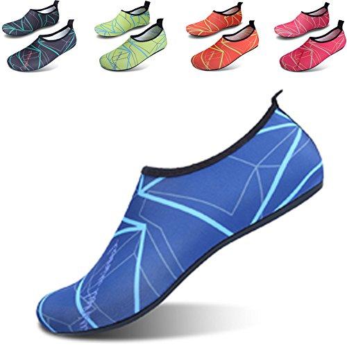 JIASUQI Frauen und Herren Classic Barfuß Wasser Sport Haut Schuhe Aqua Socken für Beach Swim Surf Yoga Übung Blau