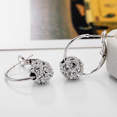(KaiTing 925 Sterling Silver Ear Loop-Flash ball earrings-Stud Earrings-Full Diamond Earring Jewelry)