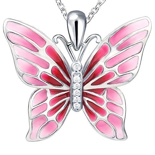 (Apotie 925 Sterling Silver red Butterfly Necklace Polymer Enamel Clay Handmade Inlay Jewelry for Women Gifts)