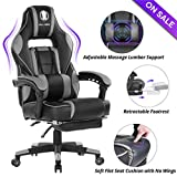 KILLABEE Massage Gaming Chair High Back PU Leather PC Racing Computer Desk Office Swivel Recliner with Retractable Footrest and Adjustable Lumbar Support, Gray/Black