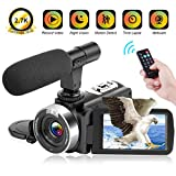 Video Camera 2.7K Camcorder 30FPS 30MP Ultra HD 16X Digital Zoom Camera 3.0 inch Touch Screen IR Night Vision Vlogging Camera for YouTube with Remote and Microphone Webcam Recorder (V9)