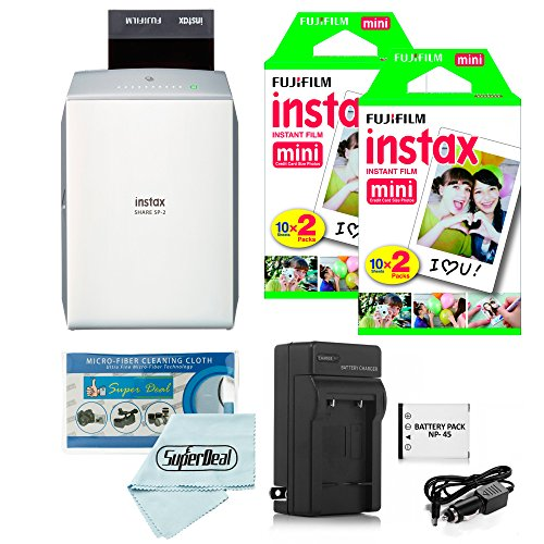 Fujifilm instax SHARE Smartphone Printer SP-2 (Silver) + Fujifilm Mini Twin Pack (40 Shots) + Travel Charger & Extra Battery + Cleaning Cloth by Fujifilm