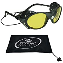 Leather Sunglasses Night Yellow Lens with Strings - Removable Side Shields.