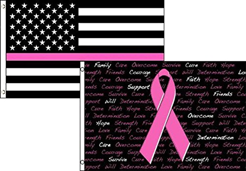 - 3x5 USA Pink Line Breast Cancer Ribbon 2 Pack Flag Wholesale Set Combo 3'x5' Banner Grommets Double Stitched Fade Resistant Premium Quality