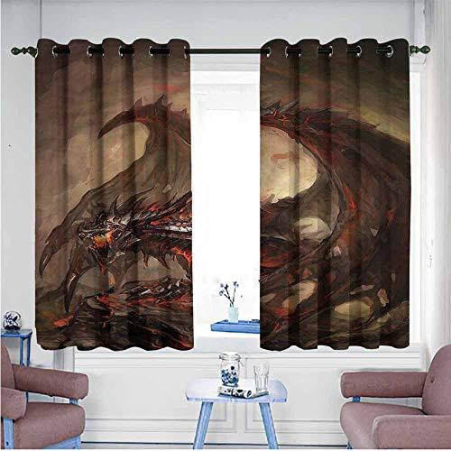 SAMEK Window Curtain Panel,Dragon Traditional Fantasy Theme,for Bedroom Grommet Drapes,W63x63L ()