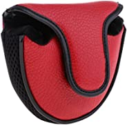 1 Piece Soft PU Heel Shaft Golf Square Mallet Putter Cover Head Cover Red or Black - Red