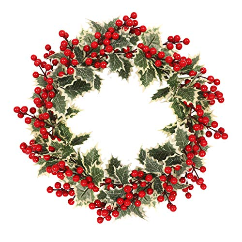 MeetSun Fall Wreath, 16 inch Front Door Wreath, Christmas Wreath with Leaves and Red Berry,Green Wreath for Front Door, Ideal for Autumn & Halloween & Thanksgiving Day, Indoor Outdoor Decor