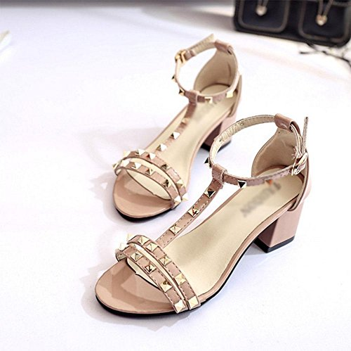 sandalias abiertas de palabras cabeza de pescado zapatos de hebilla hembra con gruesa Pink