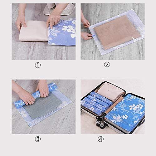 旅行用収納袋 10個セット旅行ハンドロール収納袋旅行オーガナイザー荷物圧縮ポーチセット防水服収納袋荷物オーガナイザー ハンドロールアップ再利用可能な服 (色 : 青, Size : 50X35CM)