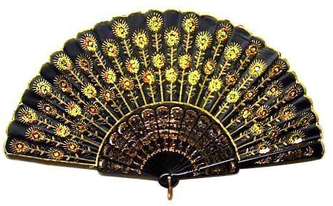 [Chinese Classical Fabric Silk Hand Fan with Peacock Pattern for Girls Women Ladies (Yellow)] (Fan Costumes)
