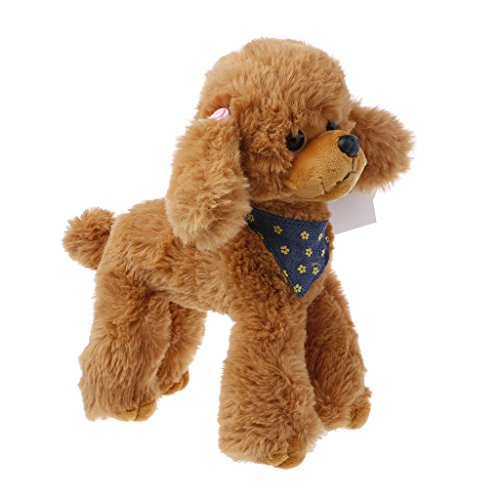 (Jesse Poodle Plush Toy, 9.84 x 7.87 inch, Cute Soft Stuffed Animal Doll Sofa Bed Decoration Baby Hand Toy Gift for Kids Girls Boys (Brown))