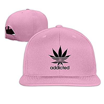 Addicted White Leaf 420 Weed Day Flat Brim Snapback Hats