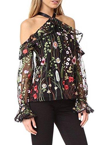 Sleeve Halter Printed Women's Black Floral Achicgirl Shoulder Off Long Blouse w1Tgg6q5