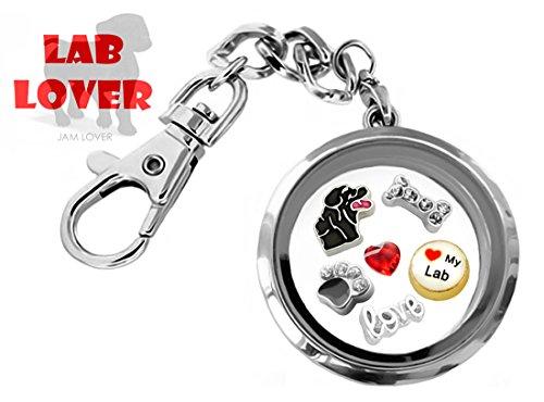 Black Lab Charm - LAB DOG LOVER 30mm Memory Locket DETACHABLE Key Chain Pendant Set w/ Labrador Retriever Floating Charms