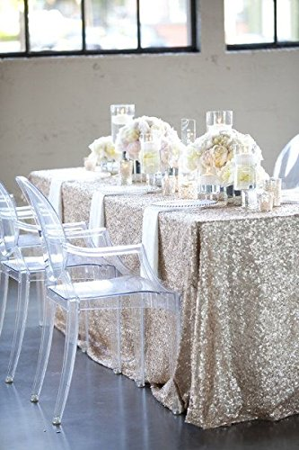 LQIAO 10PCS 90x132-Inch Rectangle Sequin Tablecloth-Champagne Blush for Lavender Wedding Party Decoration by LQIAO