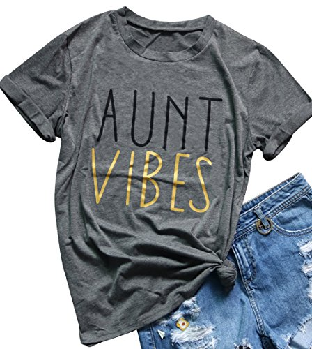 Womens Aunt Vibes Letters Printed Funny T Shirt Casual Short Sleeve Tops Blouse Size M (Gray)