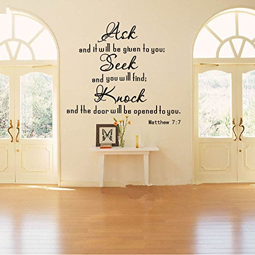 Wall Sticker Quote Ask Seek Knock Religion Bible Verse Quote Wall Sticker Living Room Matthew 7:7 Inspiration Wall Decal Bedroom Vinyl Decor ()