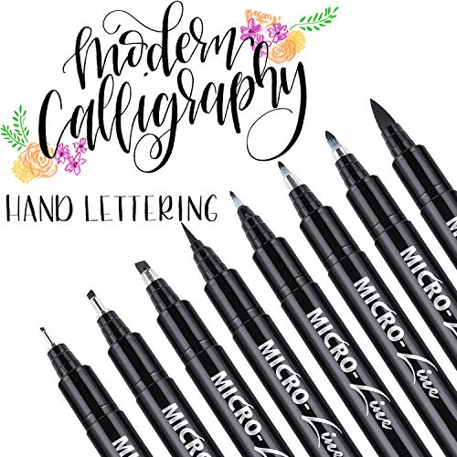 Dyvicl Hand Lettering Pens, Calligraphy Brush Pens Art Markers for Beginners Writing, Sketching, Drawing, Cartoon, Caricature, Illustration, Scrapbooking, Bullet Journaling, Black Ink Pen Set, 8 Size