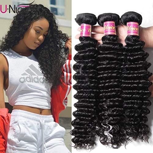 UNice Hair Good Quality Peruvian Virgin Hair Deep Wave 3 Bundles Real Human Hair Weft Extensions Natural Color 95-100g/piece (20 22 24)