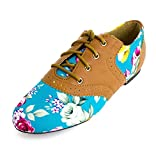 Lace Up Floral Flat Oxford Shoes Womens Turquoise 9