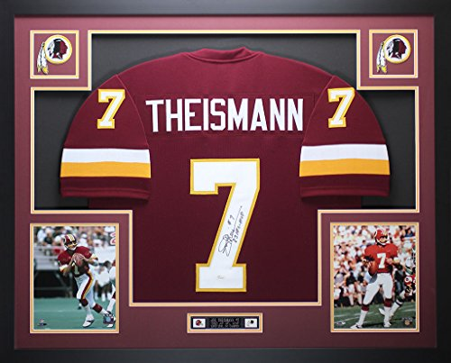 Joe Theismann Autographed Burgundy Redskins Jersey - Beautifully Matted and Framed - Hand Signed By Joe Theismann and Certified Authentic by JSA COA - Includes Certificate of Authenticity (Theismann Jersey)