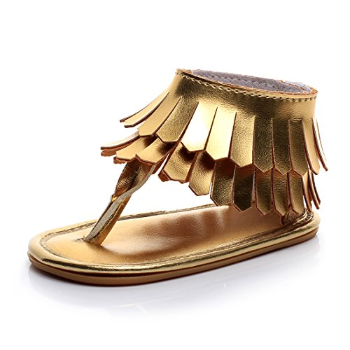 Baby Girls Stylish PU Leather with Tassel Rubber Sole Summer Baby Sandals Dress Shoes (6-12M, Gold)
