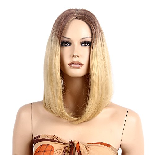Flame Fairy Costumes (STfantasy Dark Roots Blonde Wig Ombre Bob Mid Length Long Straight for Women Halloween Cosplay Party Hair 17