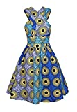 Multi-mo Women African Dress Ethnic Style Floral Print Multiway Wrap Pleated Dress