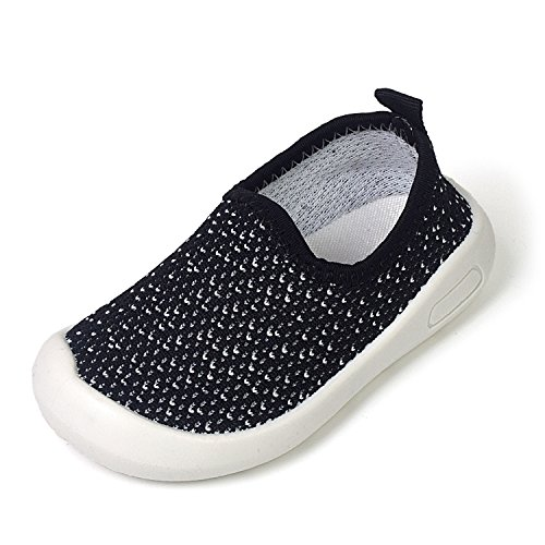 Z-T FUTURE Kids Mesh Breathable Rubber Sole Slip-On Sneakers Toddler Beach Water Shoes 5Colors (5 M US Toddler/Insole: 5.11 Inch, 1599 Black-Thicker)