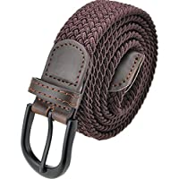 Braided Stretch Elastic Belt with Pin Oval Solid Black Buckle Leather Loop End Tip with Men/Women/Junior (7 Sizes 12 Colors )