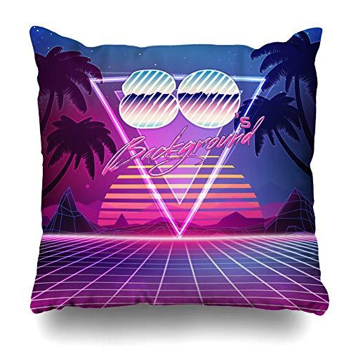 (Kutita Decorativepillows Covers 20 x 20 inch Throw Pillow Covers, S Retro Sci Fi Summer Landscape Futuristic Pattern Double-Sided Decorative Home Decor Pillowcase Sofa Bedroom Car)