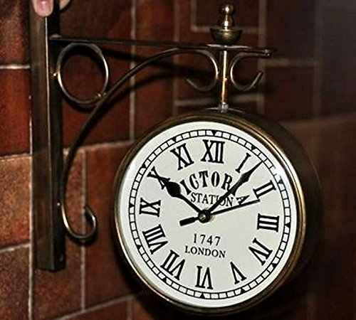 Global Art World Antique Vintage Style Home Décor Collectible Art Old Victoria Station London 1747 Double Face Wall Clock WC 01 (Clock Station Victoria)