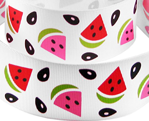 [HipGirl Boutique Summer Watermelon Printed Grosgrain Ribbon for Hair Bows, Headbands, Sewing (5yd 7/8
