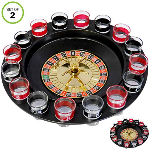 (Evelots Casino Shot Glass Roulette Drinking Game Set with 16 Shot Glasses, Set/2)